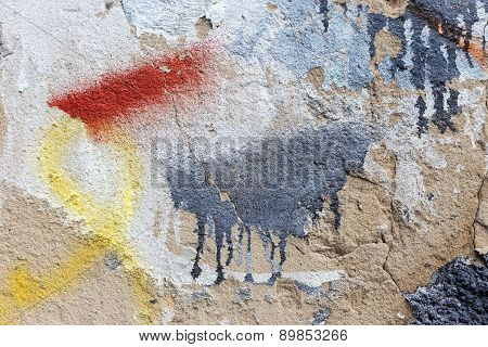 Hooligan Smeared Paint The Walls Of The Old Building. Landscape Style. Grungy Concrete Surface