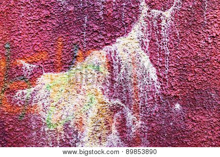 Authentic Textured Background Old Wall, Hooligans Stained With Paint. Landscape Style. Grungy
