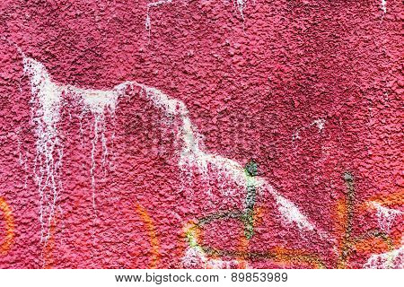 Authentic Textured Background Old Wall, Hooligans Stained With Paint. Landscape Style. Grungy Concre