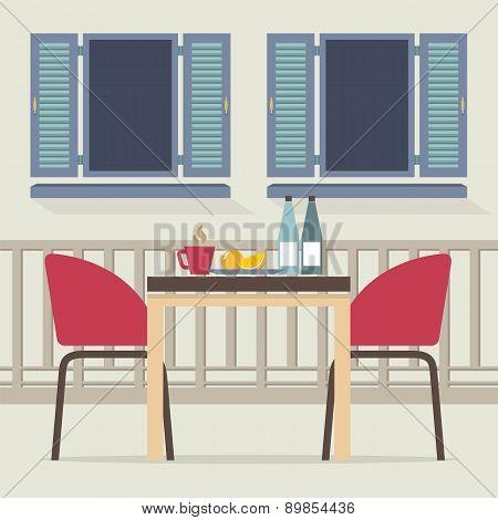 Empty Dinner Interior At Balcony.