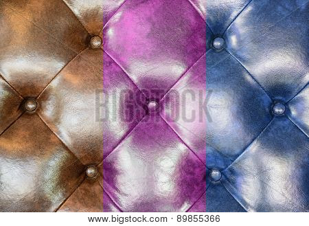 Brown, Pink And Blue Leather Upholstery Sofa Background
