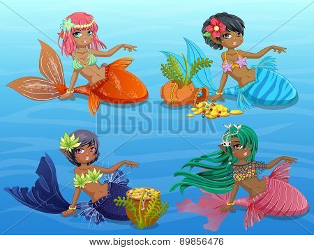Cute Mermaids Sitting on Blue Background