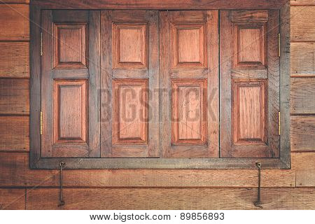 Brown Wooden Window And Wall Texture Background