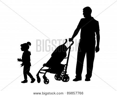Father With Baby And Pram