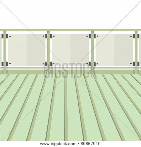 Wooden Balcony With Wooden Floor.