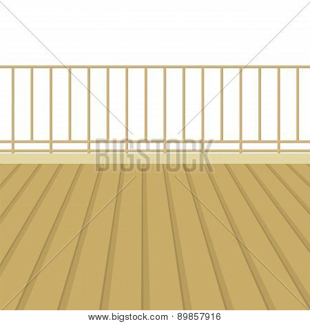 Wooden Balcony With Wooden Floor.