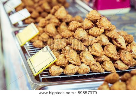 Close Up Stack Of Curry Puff Thai Snack Or Dessert