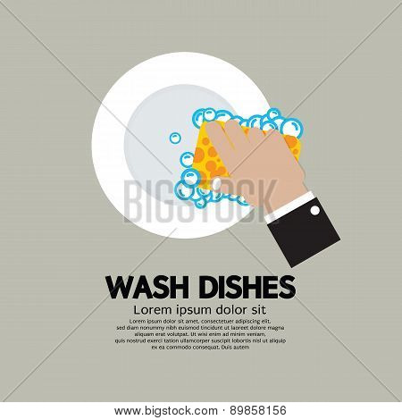 Hand Washing Dishes With Sponge.