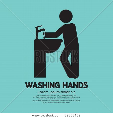 Washing Hands Black Graphic Symbol.