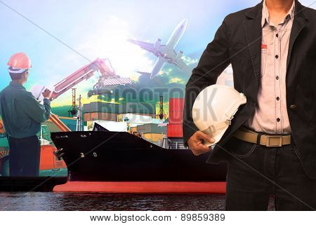working man in ship port use for vessel ,nautical and import export transport logistic industry