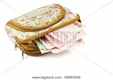 Thai Money In Woman Wallet.
