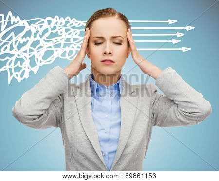 business, education, emotional pressure and people concept - stressed businesswoman or student touching her head over blue background with messy and straight arrows