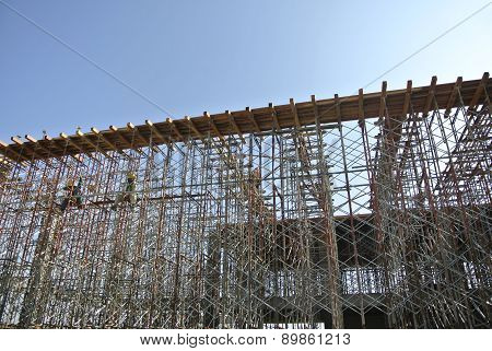 Scaffolding erected at the construction site