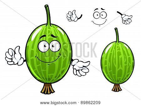 Cartoon green gooseberry fruit character