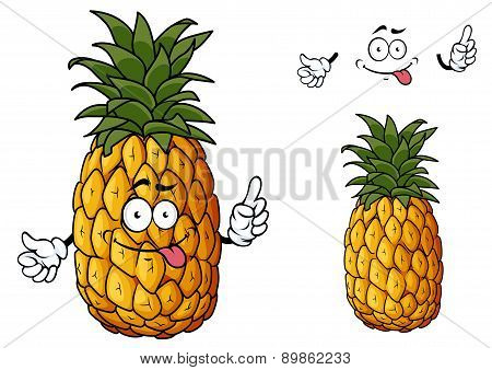 Happy cartoon pineapple fruit waving a hand