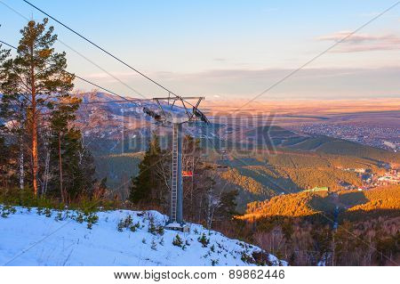 ropeway at mountain landscape shot at, Belokuriha,  Siberia