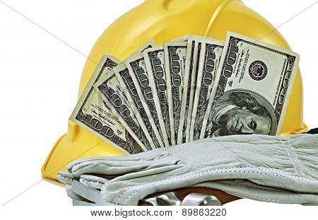 Hardhat With Hundred Dollar Bills