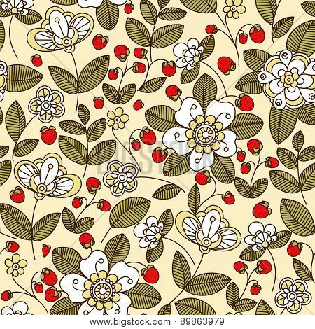 Colorful strawberry floral seamless pattern