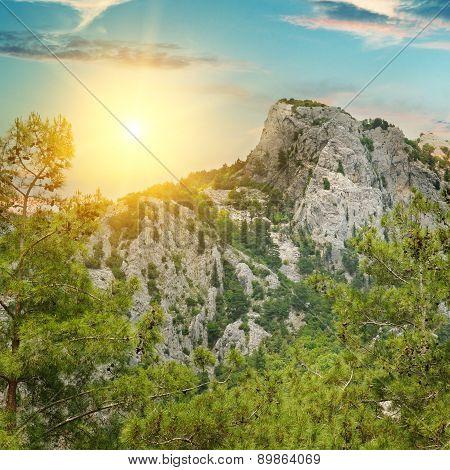 Mountain Landscape And Sunrise