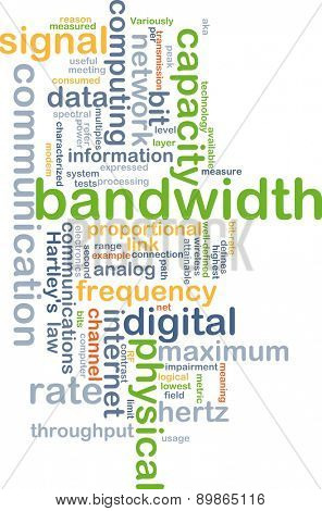Background text pattern concept wordcloud illustration of communication bandwidth