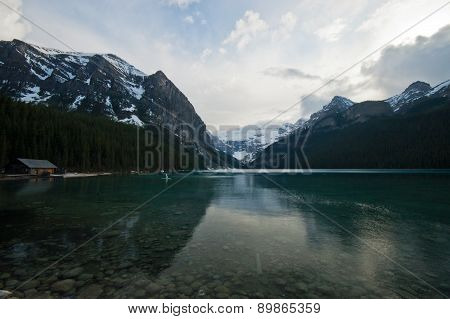 pristine lake and snow mountain of Canadian Rockies