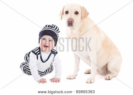 Happy Baby Boy And Beautiful Dog Golden Retriever Sitting Isolated On White