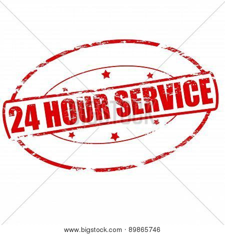 Rubber stamp with text twenty four hour service inside vector illustration