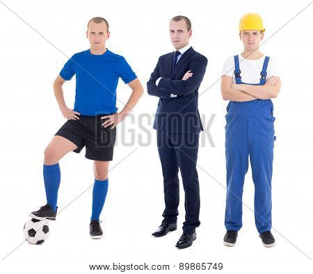 Young Handsome Man In Different Professions - Business Man, Soccer Player And Builder Isolated On Wh