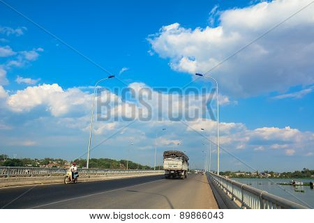 Traffic On A Modern Bridge In Saigon.