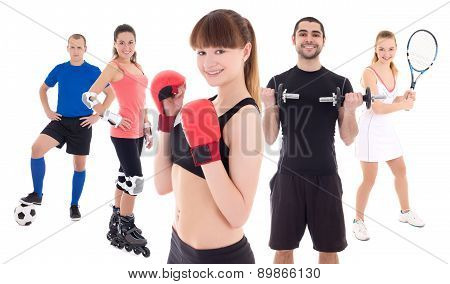 Different Sports Concept - Bodybuilder, Female Tennis Player, Woman In Boxer Gloves, Roller And Socc