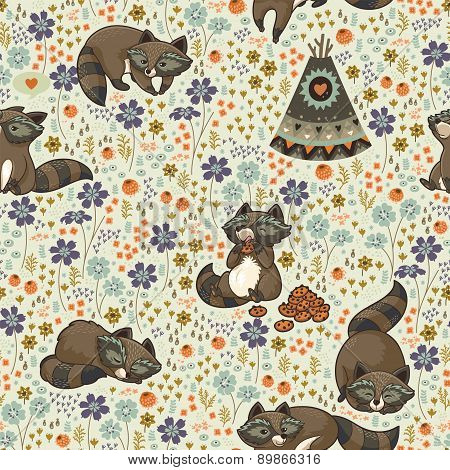 Vector seamless pattern with raccoons in cartoon style