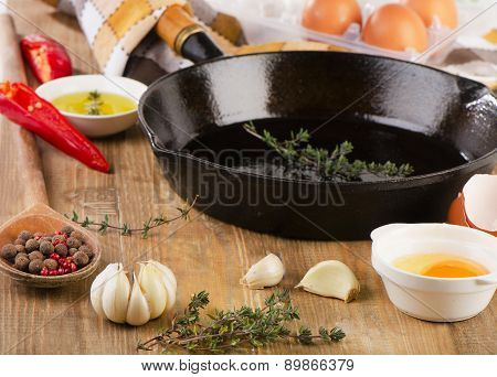 Ingredients For Breakfast And Skillet.