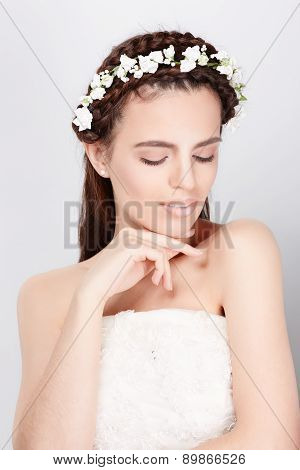 Young Bride In Wedding Dress, Studio Shot