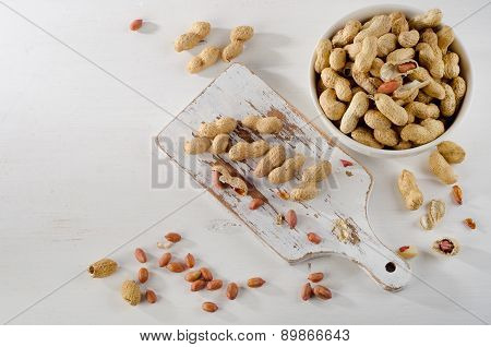 Peanuts In Shells On   White Background.
