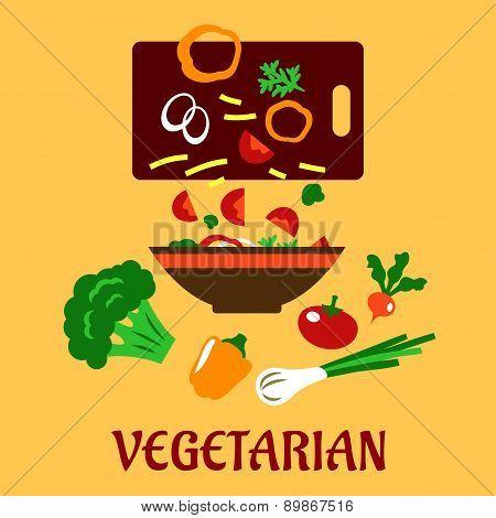 Healthy vegetarian cuisine flat concept