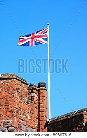 Shrewsbury castle and flag.