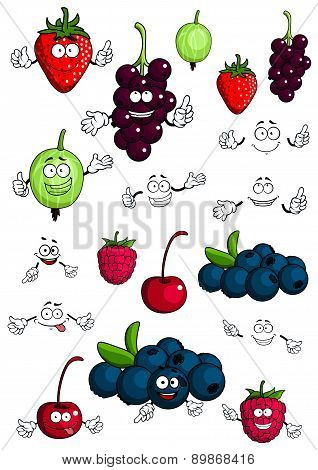 Healthy berries and fruits characters