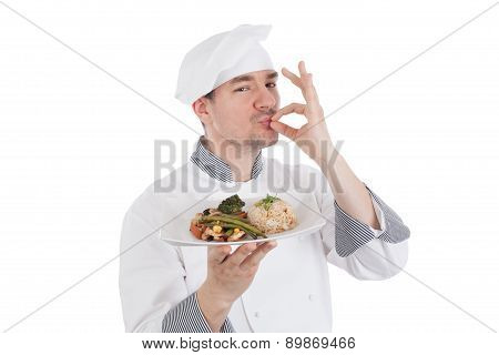 Chef Making Ok Gesture After Tasteful Food