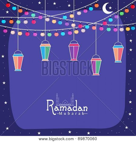 Creative greeting card design with colorful lanterns and lights for holy month of Muslim community, Ramadan Kareem celebration.