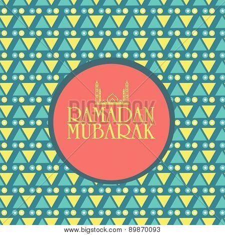 Holy month of Muslim community, Ramadan Kareem celebration sticker, tag or label design on seamless background.
