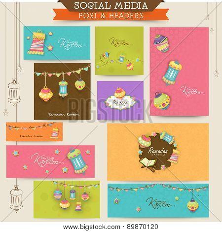 Social media ads, header or banner with Islamic elements for Muslim community festival, Ramadan Kareem celebration.