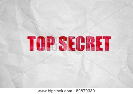 Top secret stamping on white corrugate Paper