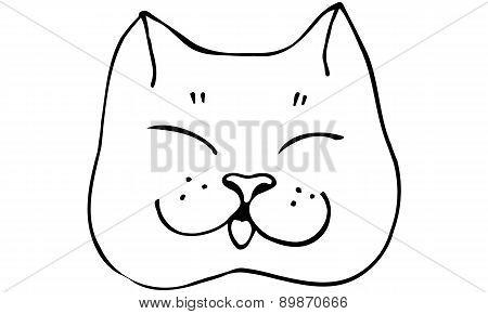 Vector Sketch Beautiful Cat Muzzlek