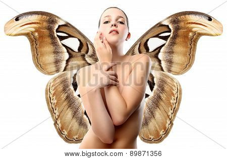 woman with butterfly wings isolated on white background