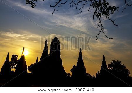 Silhouette Ancient With Sunset