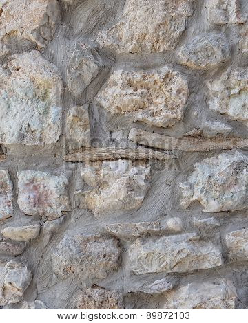 stone wall with old wood twig