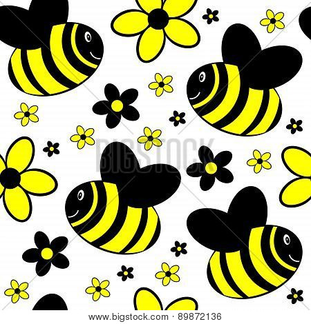 seamless background with bees