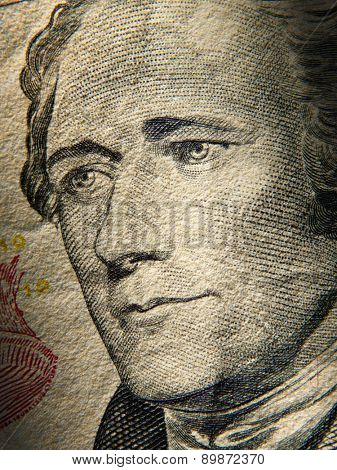 Alexander Hamiltons portrait is depicted on painted on the $ 10 banknotes. Close up