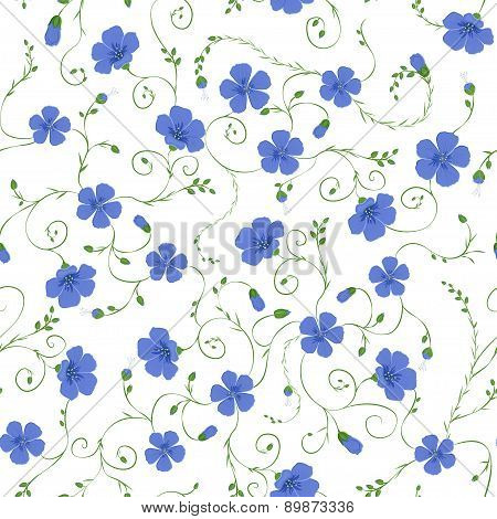 Flax floral seamless pattern