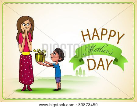 Cute little boy giving a gift box to his mother on occasion of Happy Mother's Day celebration, can be used as greeting card or invitation card.